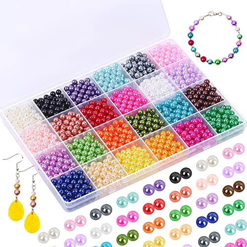 1680 cuentas de perlas, Kanzueri de 6 mm para manualidades, perlas redondas, coloridas y sueltas con agujero para pulsera, collar, pendientes, hacer joyas y hacer gargantilla