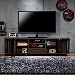 """BOWERY HILL 70"""" Industrial TV Stand in Vintage Walnut with Wheels"""