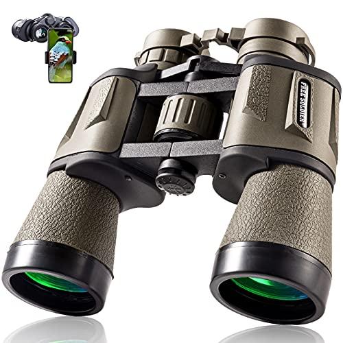 Fernglas für Erwachsene, 20 x 50, mit Smartphone-Adapter, 28 mm Okular, Hochleistungsfernglas für Vogelbeobachtung, Wandern, Sightseeing, Reisen, Sport, Konzert, mit BAK4-Prisma, FMC-Objektiv, Schlamm