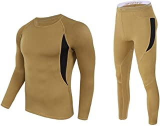 Jinqiuyuan Men's Fleece Thermal Underwear Sweat Quick Drying Thermo Underwear Mens Breathable Elasticity Long Johns Tops Pants Set (Color : Khaki, Size : S)