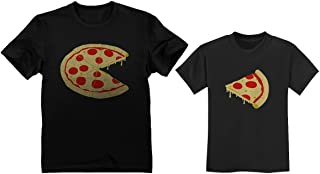 Pizza Pie & Slice Toddler & Men's T-Shirt Matching Set Dad & Son Daughter Set