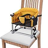 Portable Boostersitz Baby Sitzerhöhung Hochstuhl Faltbar Kindersitz mit Transporttasche für Indoor Outdoor und Unterwegs(Gelb)