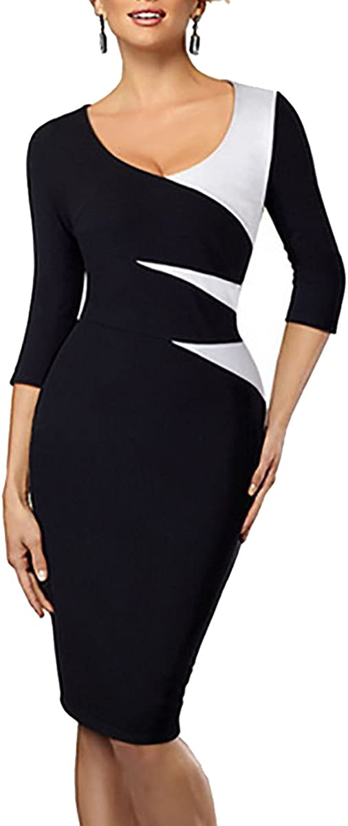 LECHEERS Women's V-Neck 2/3 Sleeve Contrast Bodycon Pencil Business Party Dress