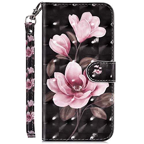 JAWSEU PU lederen portemonnee Flip Case met 3D patroon ontwerp compatibel met Huawei Mate 20 Lite Flower-2