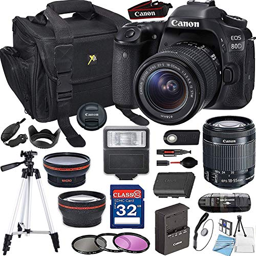 Canon EOS 80D with 18-55mm is STM + 32GB Memory + Padded Camera Bag + Digital Slave Flash+ Pro Filters,(28pc Bundle)
