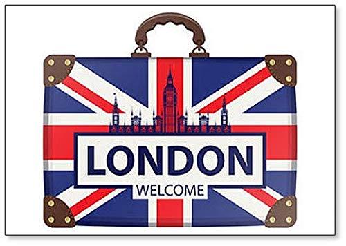 Illustrazione di viaggio con valigia in colori della bandiera britannica con la calamita da frigorifero Big Ben