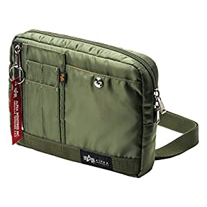 [アルファインダストリーズ] ショルダーバッグ サコッシュ ポケット充実 MA-1生地 取り外し可能ベルト インナーケース カーキ 200-BAG130KA