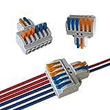 Aiqeer 6 Piezas KV426 Palanca Tuerca Cable Conectores Set, 2 in 6 out Conector Conductor Compacto, Bilateral Rápido Resorte Conector Bloque Terminal