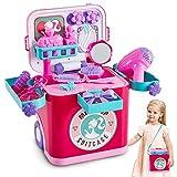 Buyger 4 en 1 Maletin Maquillaje Juguete Infantil Belleza Joyería Peluqueria Juegos de Imitación para Niño Niña 3 4 5 Años