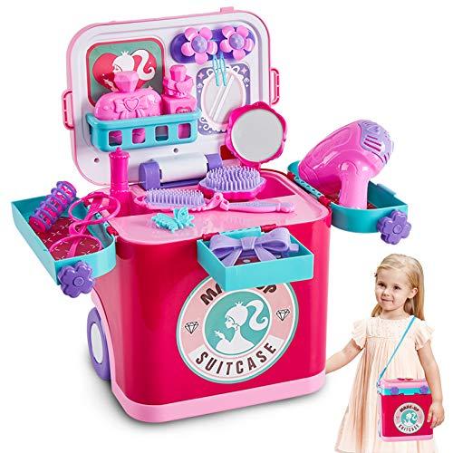 Buyger 4 in 1 Schminkkoffer Mädchen Schminktisch Kinder Schminkset mit Musik Mädchen Rollenspiel Kosmetik Spielzeug Geräusche und Licht