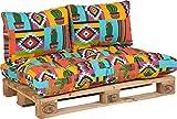 Beo Palettenkissen Set für Palettenmöbel | Made in EU Palettenkissen Outdoor UV-beständig Mexiko | Europaletten Polster 1x Paletten Sitzkissen 120x80 2X Rückenlehne Kissen 60x40