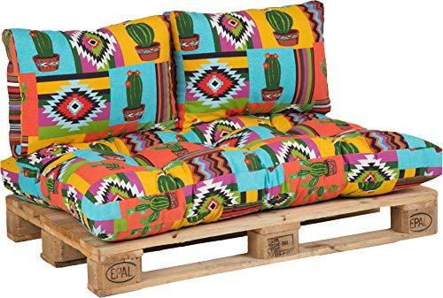 Beo Palettenkissen Set für Palettenmöbel   Made in EU Palettenkissen Outdoor UV-beständig Mexiko   Europaletten Polster 1x Paletten Sitzkissen 120x80 2X Rückenlehne Kissen 60x40