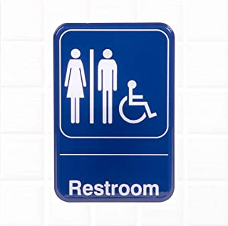 Unisex Restroom Sign - Blue and White, 9 x 6 Inches Handicap Accessible Unisex Restroom Sign, Bathroom Signs for Door/Wall by Tezzorio