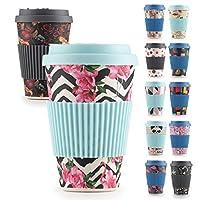 rosmarino tazza da viaggio in bambù per bevande calde, 400 ml - tazza da caffè riutilizzabile con coperchio in silicone e manichetta - testato tüv (pink flamingo)