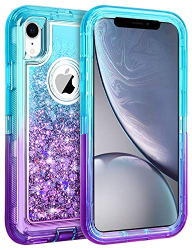 Coolden Case for iPhone XR Cases Protective Glitter Case for Women Girls Cute Bling Sparkle Heavy Duty Hard Shell Shockproof TPU Case for 6.1 Inches Apple iPhone XR 10R, Aqua Purple