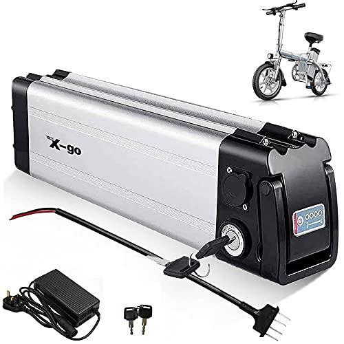 X-go Batería de ion de litio Silver Fish de 36 V y 10 Ah, con cargador para bicicletas eléctricas de 200 W, 35 W, 500 W y motores Pedelec (36 V, 10 Ah, 2 pines)