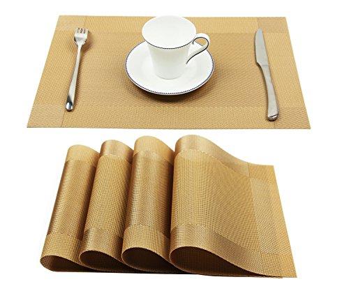 Homcomodar Tischsets 4er Set Abwaschbar Platzdeckchen PVC Vinyl rutschfest Hitzebeständig Platzsets 30x45 cm