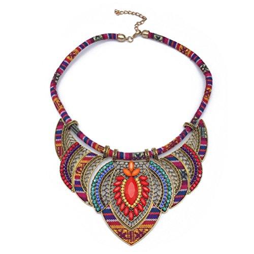 BESTOYARD Collana girocollo bavaglino etnico Collares multicolore fatto a mano perline Gioielli Boho per donne (rosso)