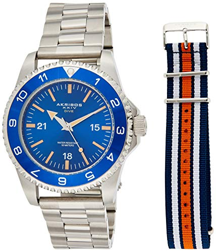 Akribos XXIV Men's Diver Watch - Silver Stainless Steel and Red White and Blue NATO Strap – Blue Dial and Bezel – AK1002SSBU