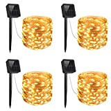 AMIR Solar String Lights, 4 Pack 33ft 100 LED Outdoor String Lights, Waterproof