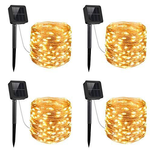 Criacr 【4 Stück】 Solar Lichterkette, 100 LED 8 Modi, Lichterkette Outdoor Solar 10m, IP65 Wasserdicht, LED Lichterkette Außen für Weihnachten, Partys, Garten, Hochzeiten Deko etc (Warmweiß)