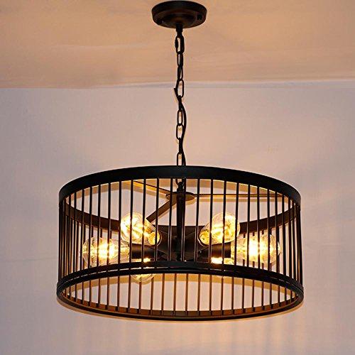 E27 Edison Lampe de Suspension industrielle rétro créatif Fer Abat-jour rond en suspension Lampe classique lustre éclairage intérieur lampe chambre lampe suspension style maison de campagne Ø55cm