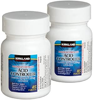 Kirkland Signature Maximum Strength Acid Controller Relieves Heartburn Due to Acid Indigestion Famotidine Tablets, Usp 20mg Acid Reducer - 2 Packs of 85 Counts Bottle Tablets (170 Tablets Total) - Cos10