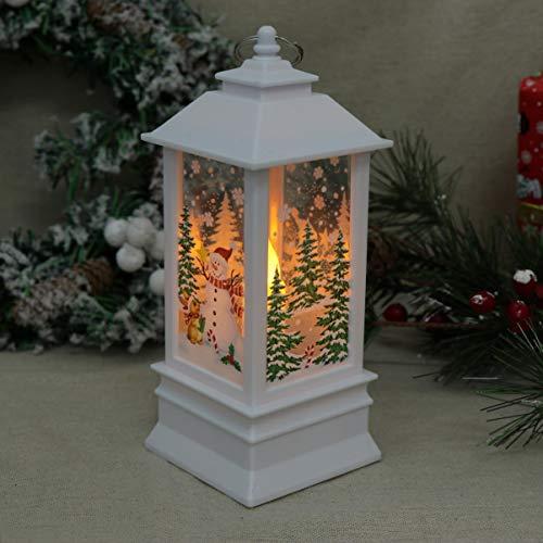 Uonlytech - Lanterna natalizia illuminata con motivo di Babbo Natale, decorazione da appendere, colore bianco