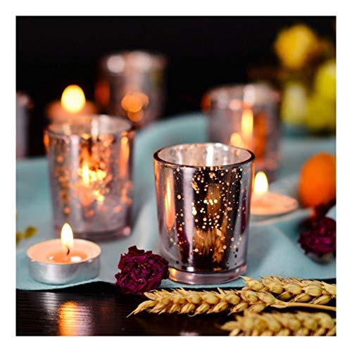 Supreme Lights Glas Teelichthalter 12er Set, 5.2x6.6cm, Gefleckter Teelichtgläser Geschenk Kerzenhalter Deko für Geburtstag, Party, Hochzeit, Feier, Haushalt, Gastronomie (Rosegold)
