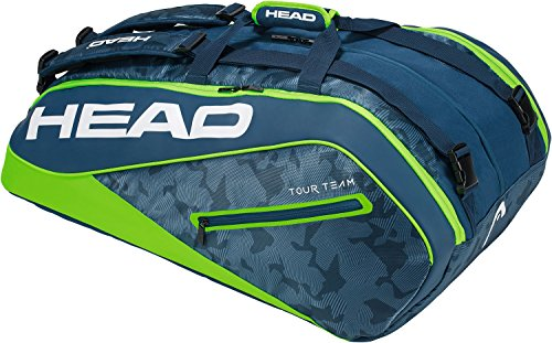 Head Tour Team 12R Monstercombi, Borsa per Racchette da Tennis Unisex-Adulto, Blu Navy/Verde, Taglia Unica