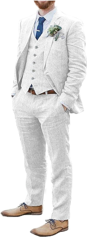 Furuyal Men's 3 Pieces Linen Suits Vintage Formal Wedding Dress Suit Blazer Vest Pants Set
