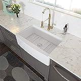 Farmhouse Sink White - Lordear 30 Inch Apron-front Kitchen Sink Fireclay Ceramic Porcelain Single Bowl Kitchen Farm Sinks