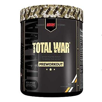 Redcon1 Total War - Pre Workout 50 Servings Boost Energy Increase Endurance and Focus Beta-Alanine Caffeine  Orange Crush  Larger Size  Orange Crush