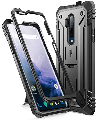 Poetic Revolution Series Designed for OnePlus 7T Pro/OnePlus 7 Pro, Full-Body Rugged Dual-Layer Shockproof Protective Cover with Kickstand and Built-in-Screen Protector, Black