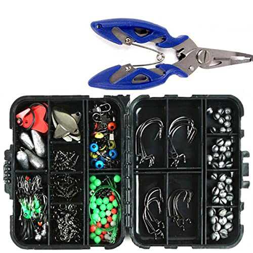 Fishing Accessories Kit【188PCS】 Set with Tackle Box, Including Pliers, Jig Hooks, Bullet Bass Casting, Swivels Snaps, Sinker Sliders, Line Beads, Sinker Weights, Split Rings, Fishing Leaders.