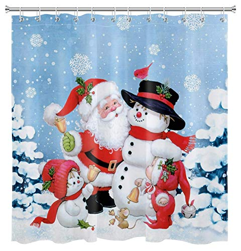 Weihnachts Duschvorhang für Kinder Badezimmer Niedlicher Weihnachtsmann Schneemann Duschvorhang Set mit Haken Winter Schneeflocke Duschvorhang 72x72 Zoll Wasserdicht Polyester Stoff Dekorationen