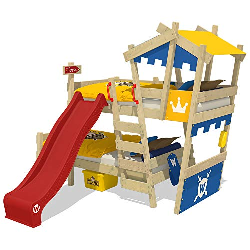 WICKEY Etagenbett CrAzY Castle Doppel-Kinderbett 90x200 Hochbett mit Rutsche, Treppe, Dach und Lattenboden, blau-gelb + rote Rutsche