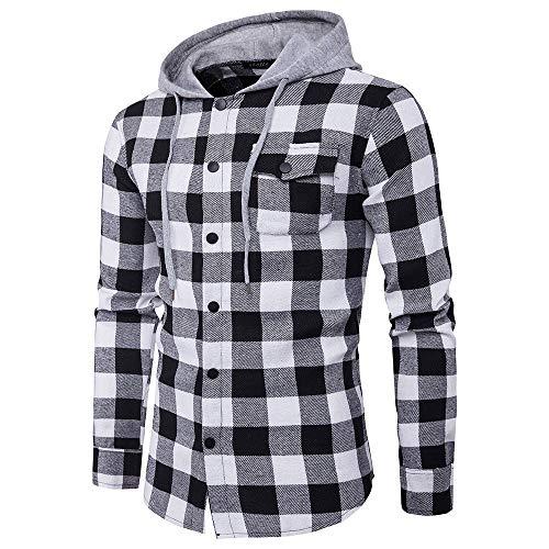 Deelin hemd voor herfst, modieus, heren, casual, geruit, slim fit, trui met capuchon, knop, T-shirt, lange mouwen, blouses, tops, zwart, rood