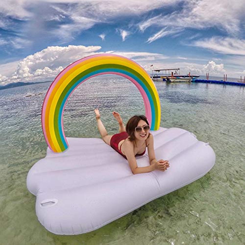WEGCJU Regenbogenwolken Aufblasbar Pool Aufblasbarer Schwimmende Wasserrestklubsessel Für Groe Kinder Und Erwachsene Schwimmen Wassersport Sommerpoolspielzeug,210X145X135cm