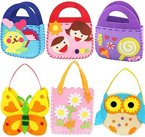 Bambini Creazioni Kit da Cucito, BESTZY 6 Pezzi Kit da Cucito Fai da Te per Bambini Bambini attività Creative Mestieri Stoffa di Feltro Cucito Borsetta