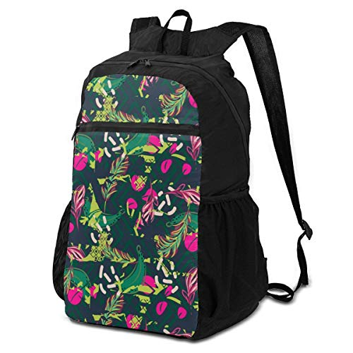 3D Printing Lightweight Packable Portable Fusion Exotic Jungle Juicy Greens Tropical Palm Backpacks,Storage Packet Bag,Infantry Pack,Travel Hiking Backpack Daypack for Women Yoga