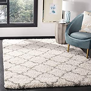 Safavieh Hudson Shag Collection SGH282A Moroccan Trellis 2-inch Thick Area Rug, 8′ x 10′, Ivory / Grey