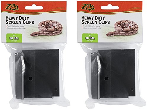 (2 Pack) Zilla Reptile Terrarium Covers Heavty Duty Screen Clips, Large 30Gallon or Larger, 2 Clips each