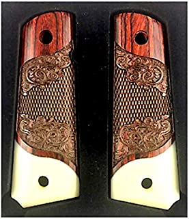 Premium Gun Grips 1911 Colt Full Size Double Diamond Checkered Rosewood Grips w/Faux Accent