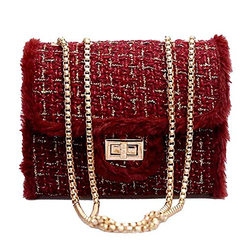 HCFKJ👜 Tasche, Weiblicher Kette Square Bag Casual Samt Umhängetasche Lock Diagonal Cross Bag (RD)