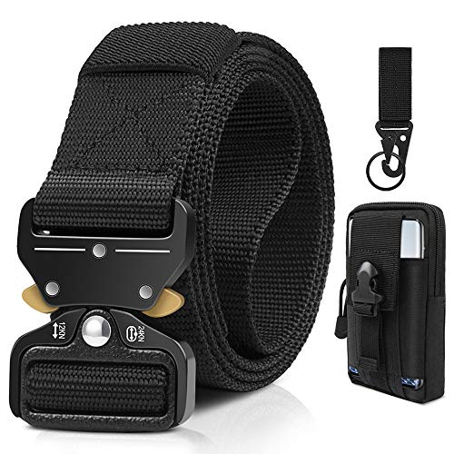 Tactical Belt, Military Style Webbing Riggers Web Belts Heavy-Duty Quick-Release Metal Buckle Belt with Tactical Molle Pouch & Hook