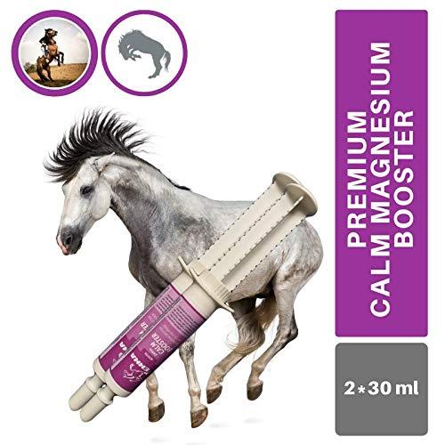 EMMA® Magnesium Pferd I Calm Booster I zur Beruhigung Nerven I L-Tryptophan Aminosäuren Paste I Angst Stress schreckhaftes Pferd I unterstützt Gelassenheit bei nervösen Pferde Pony 2 * 30ml