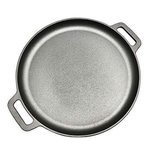 KIODS Poêle à Frire 30 cm / 33 cm / 35 cm en Fonte poêle à Steak BBQ rôti Viande rôtissoire Ronde Non couché marmite Pizza crêpe poêle poêle Fond Plat