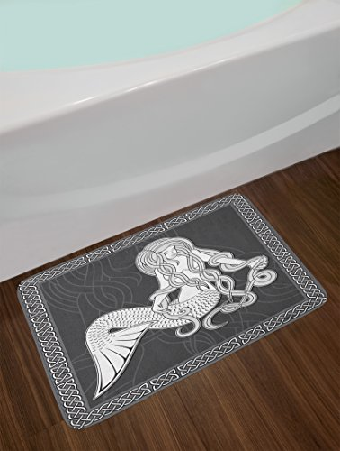 Mermaid Bath Mat by Ambesonne, Retro Art Illustration of a Mermaid Brushing Hair and Border with Celtic Patterns, Plush Bathroom Decor Mat with Non Slip Backing, 29.5 W X 17.5 W Inches, Brown White
