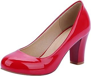 Dieenia Women Simple Block Heels Slip On High Heel Pumps Round Toe Dress Shoes